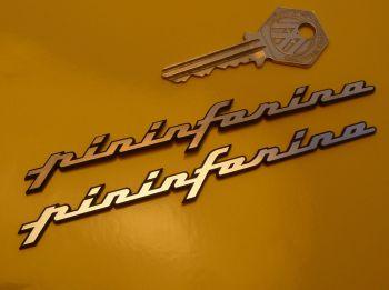 "Pininfarina Laser Cut Self Adhesive Car Badges. 3"", 3.5"" or 5"" Pair."