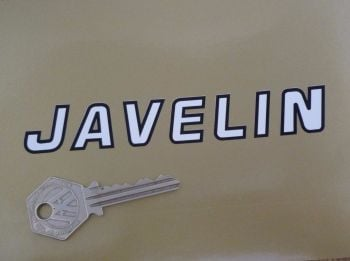"""BSA Javelin Bicycle Black & White Cut Text Stickers. 5.25"""" Pair."""