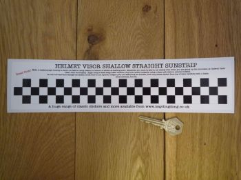 "Chequered Flag Helmet Visor Straight Sunstrip Sticker. 12"". 35mm or 50mm Tall."