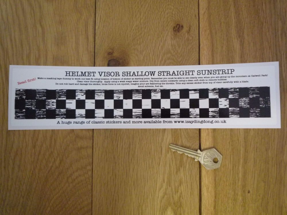 "Chequered Flag Worn & Distressed Helmet Visor Straight Sunstrip Sticker. 12"". 35mm or 50mm Tall."