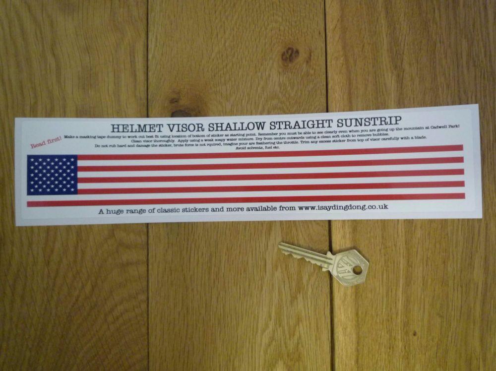 "USA Stars & Stripes Helmet Visor Straight Sunstrip Sticker. 12"". 35mm or 50mm Tall."