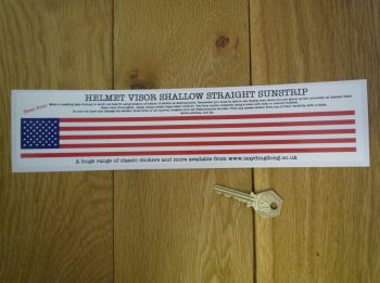 "USA Stars & Stripes Helmet Visor Straight Sunstrip Sticker. 12"". 35mm or 50mm Tall."