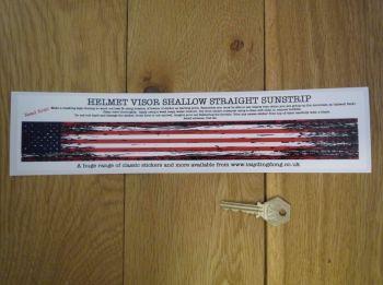 """USA Stars & Stripes Worn & Distressed Helmet Visor Straight Sunstrip Sticker. 12"""". 35mm or 50mm Tall."""