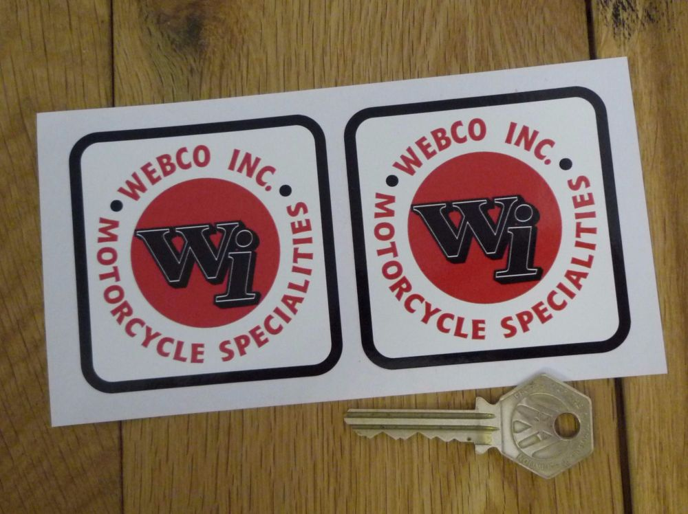 """Webco Inc. Motorcycle Specialities Stickers. 2.75"""" Pair."""