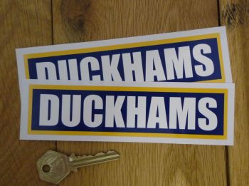 "Duckhams Oil Classic Style White on Blue Oblong with Yellow Border Stickers. 6"" Pair."