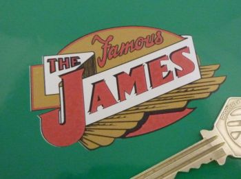 "The Famous James Shaped Sticker. 3""."