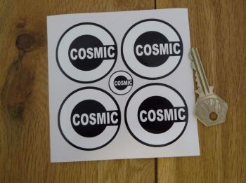 Cosmic Style 2 Black & White Wheel Centre Stickers. Set of 4. 50mm.