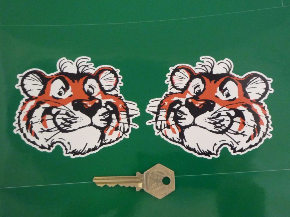 "Esso Tiger Head Stickers. 2"", 4"", 6"" or 8"" Pair."