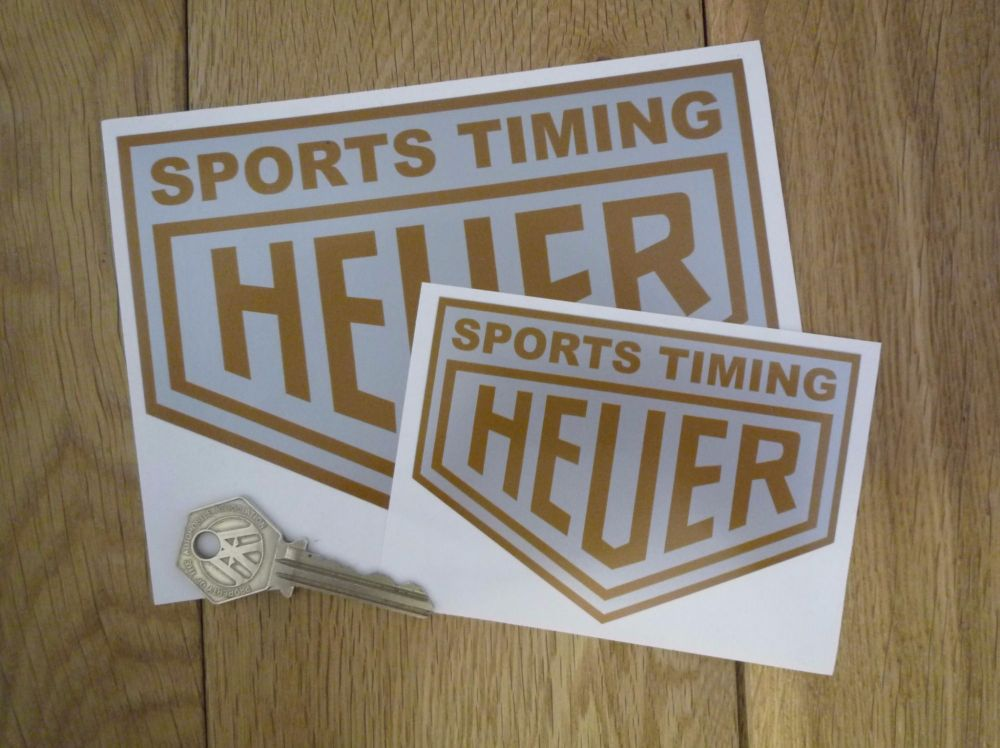 """Sports Timing Heuer Silver & Gold Stickers. 4"""" or 6"""" Pair."""