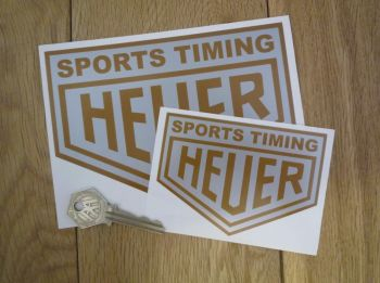 "Sports Timing Heuer Silver & Gold Stickers. 4"" or 6"" Pair."