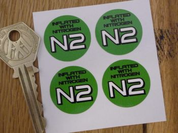 "Inflated With Nitrogen N2 Green Circular Stickers. 1"" Set of 4."