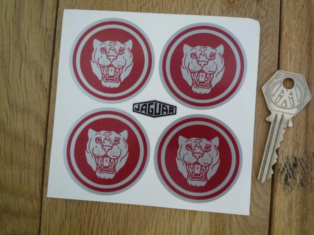 Jaguar Wheel Centre Stickers. Growlers. Red & Silver. 50mm.