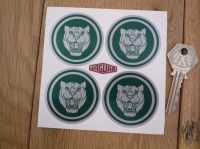Jaguar Wheel Centre Stickers. Growlers. Green & Silver. Set of 4. Various Sizes.