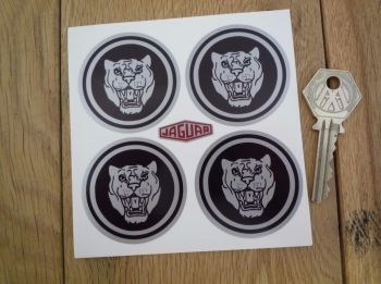 Jaguar Wheel Centre Stickers. Growlers. Black & Silver. Set of 4. Various Sizes.