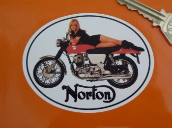 Norton Commando Fastback Girl Sticker. 3.5""