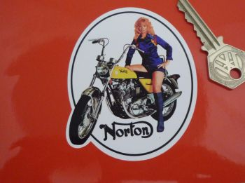 Norton Commando Hi-Rider Girl Sticker. 3.5""