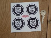 Jaguar Wheel Centre Stickers. Growlers. Black & White. Set of 4. 60mm.