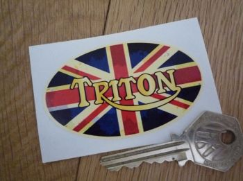 "Triton Aged Union Jack Style Oval Sticker. 3""."