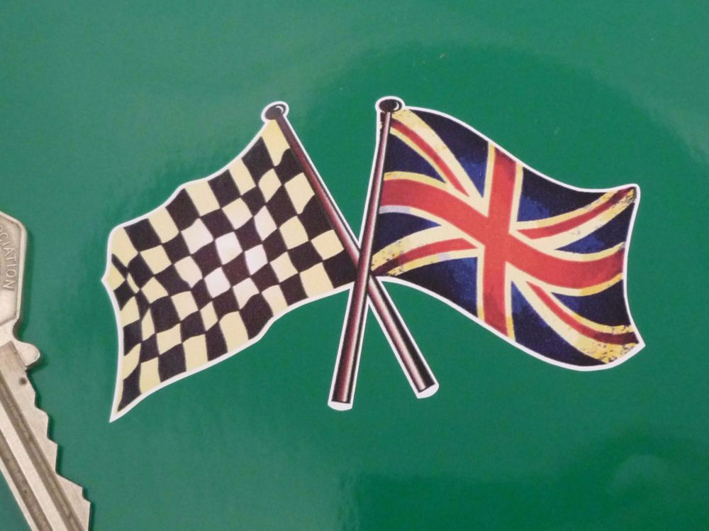 Aged Style Crossed Chequered Amp Union Jack Wavy Flags