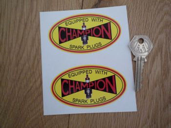 "Champion Spark Plug Yellow Oval Stickers. 3.5"" or 8"" Pair."