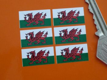 Welsh Flag Small Coloured Stickers. Set of 6. 25mm.