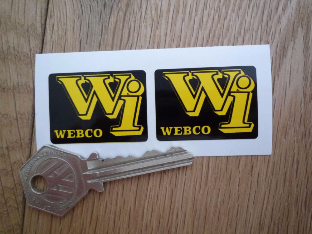 """Webco Wi Black & Yellow Stickers. 1.5"""" Pair."""