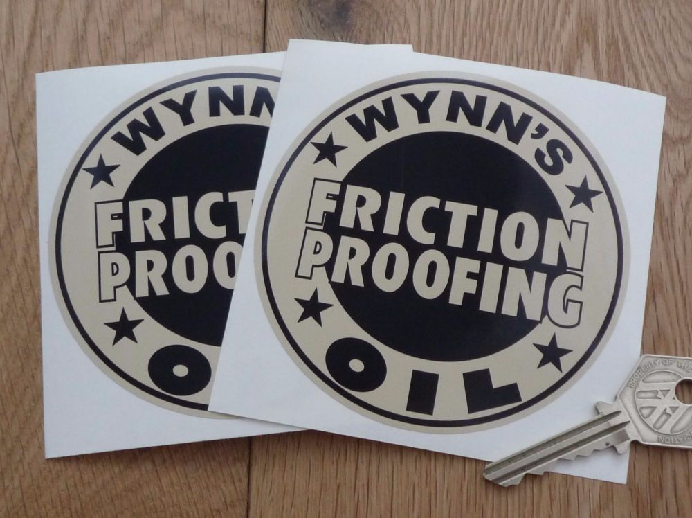 """Wynn's Friction Proofing Oil Black & Beige Circular Stickers. 4"""" Pair."""