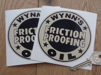 "Wynn's Friction Proofing Oil Black & Beige Circular Stickers. 4"" Pair."