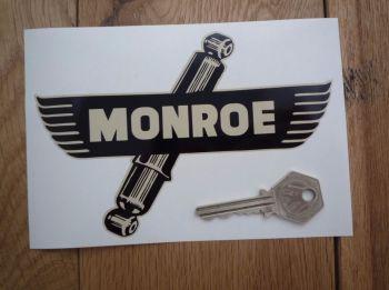 """Monroe Shock Absorbers Shaped Black & Beige Sticker. 6""""."""
