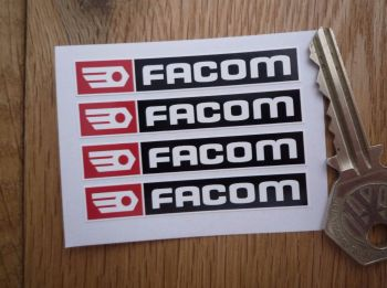 Facom Black, Red & White Oblong Stickers. Set of 4. 60mm.