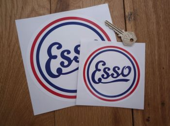 "Esso Old Style Round Stickers. 2.5"", 4"" or 6"" Pair."