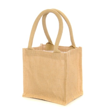 10 x Luxury Natural Jute Lunch Bags - Padded Handles  20 x 22 cm
