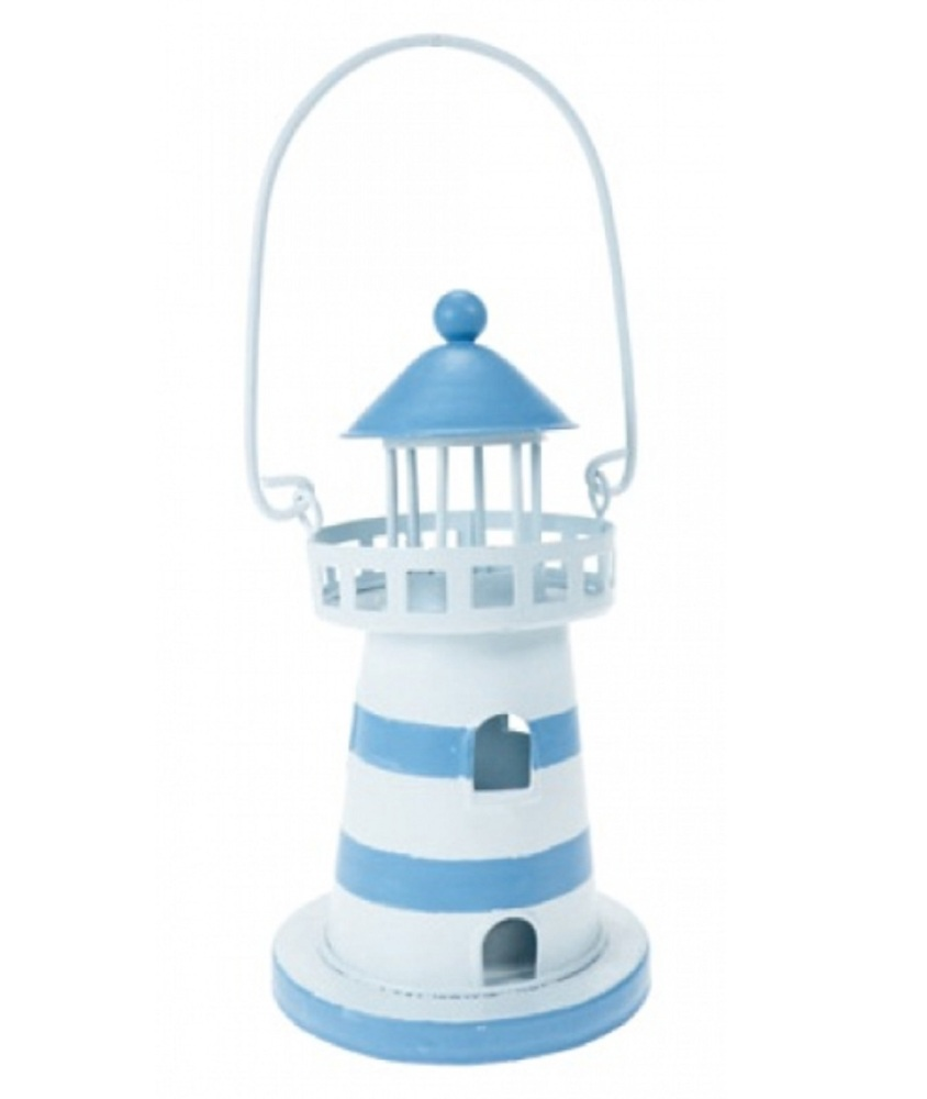 Lighthouse Tea Light Lamp Lantern / Beach Seaside Nautical Decor - Outdoor