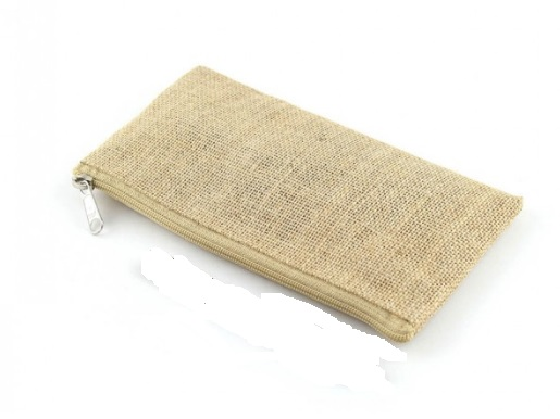 Jute Cosmetic Make Up Bag/Pencil Case- Plain - Great for Painting