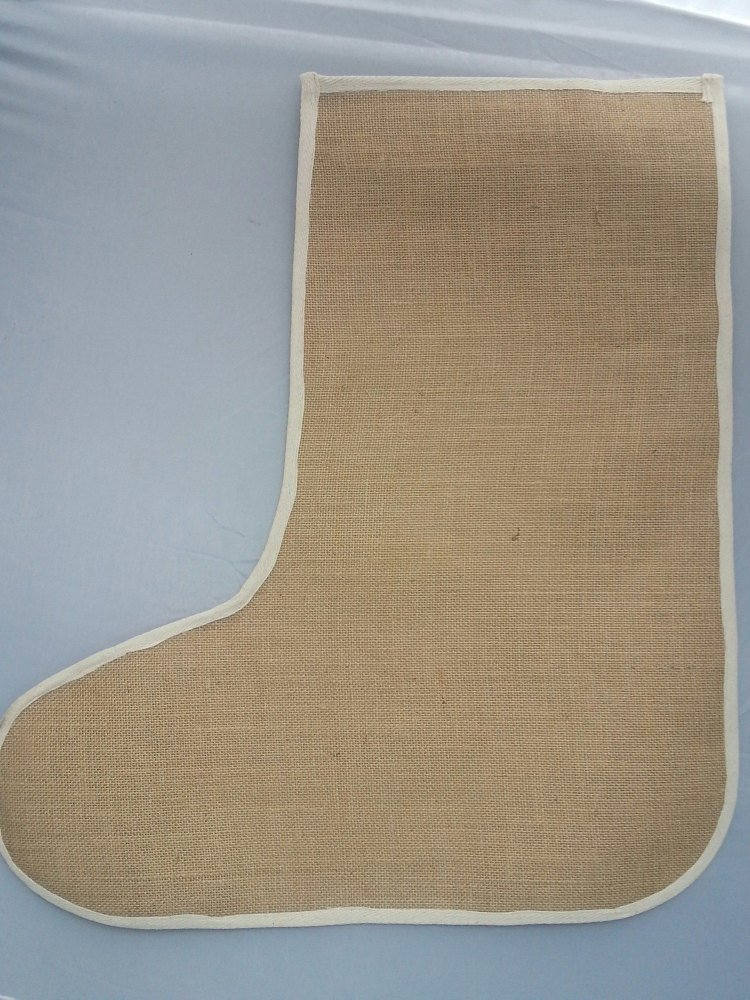 Large Plain Jute Christmas Stockings - Laminated Inside