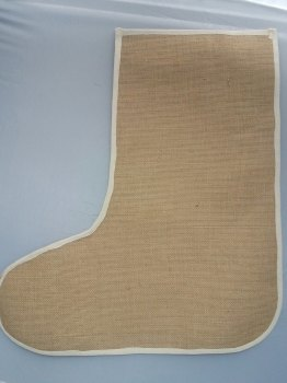 Large Plain Jute Christmas Stockings - Laminated Inside