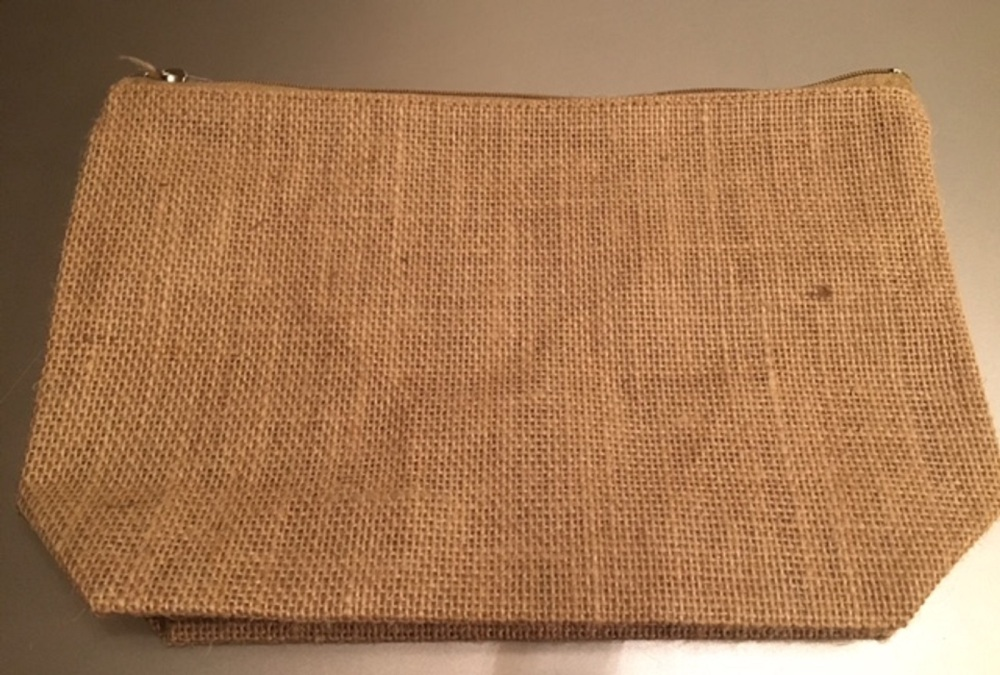 Large Jute Cosmetic Plain Make Up Bag - Blank Great for Painting