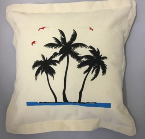 Nautical Cushion with Palm Tree Design - includes padded insert