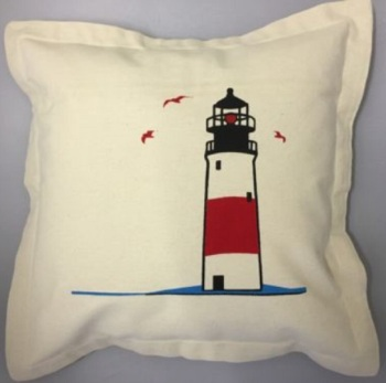 Nautical Cushion with Lighthouse Design - includes padded insert