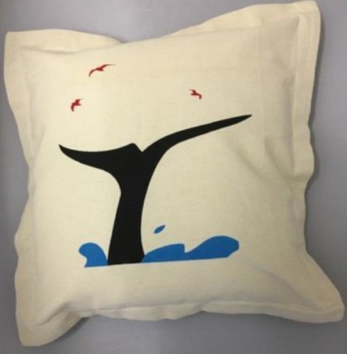 Nautical Cushion with Whale Fin Design - includes padded insert