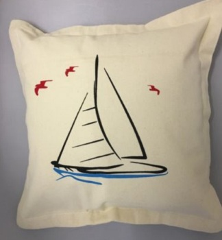 Nautical Cushion with Yacht Design - includes padded insert