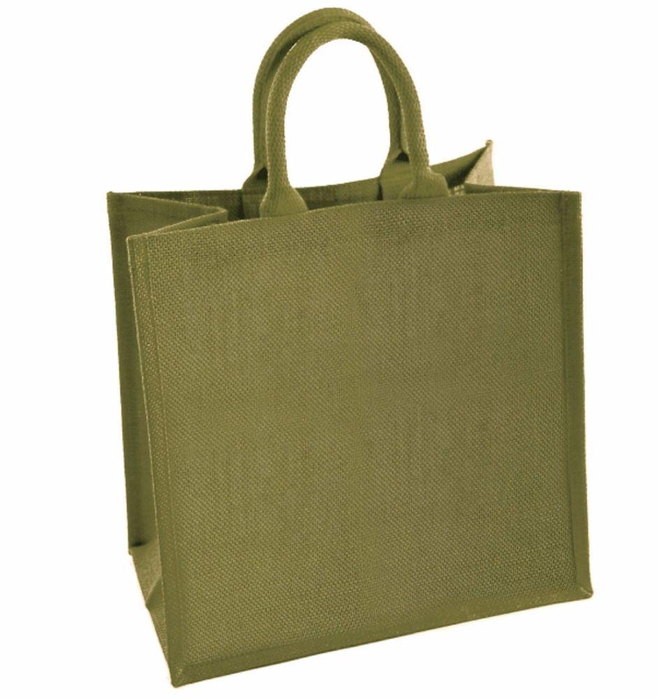 Sage Green  Large Natural Jute Shopping Bag - 40 x 35 x 15 cm