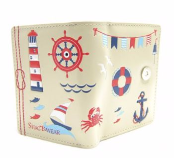 Nautical Seaside Theme Purse in Ivory with Lighthouse Details