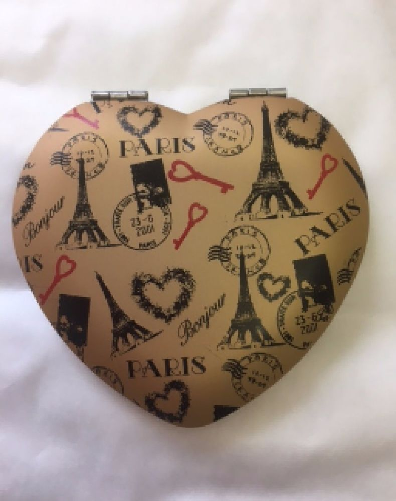 Heart Shaped Compact Magnifying Mirror with Paris Design - Ladies Gift Idea