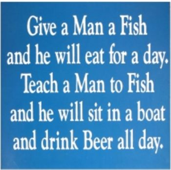 Give a Man a Fish - Teach a Man to Fish - Fun Saying Sign - Fathers Day Gift Idea