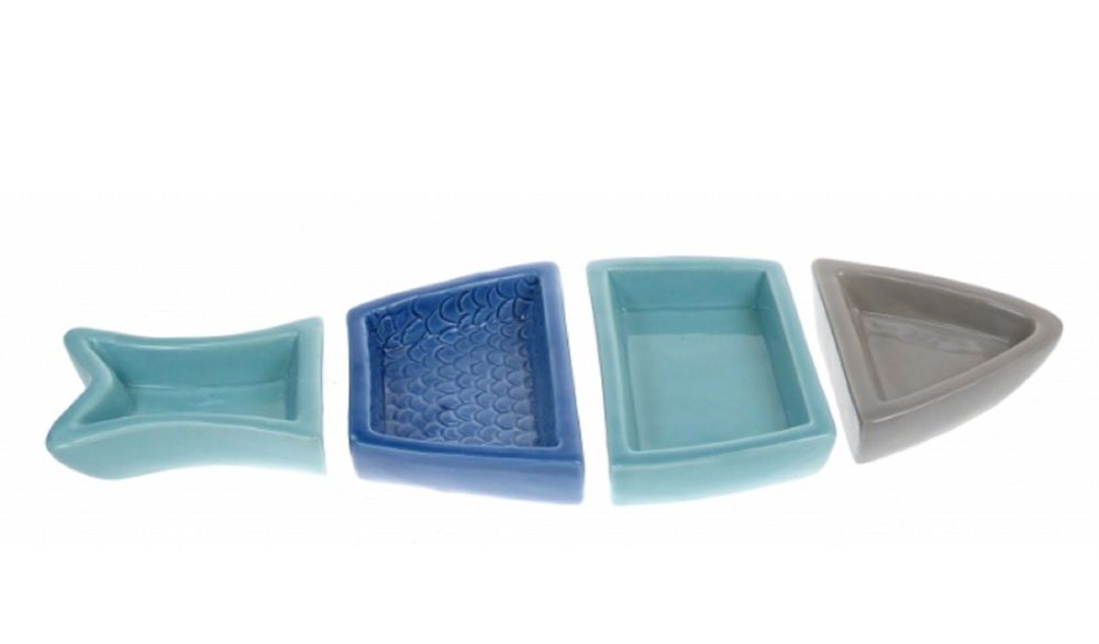 Fish Shaped Snack Serving Dish - Set of 4 Dip or Snack Dishes