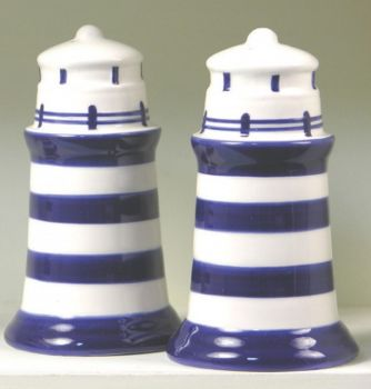 Salt and Pepper Lighthouse Cruet Condiment Set Blue and White Striped