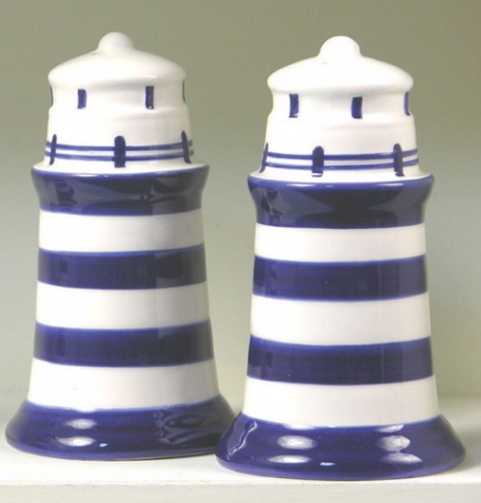 Salt and Pepper Lighthouse Cruet Condiment Set Blue and White Striped