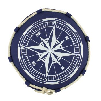 Large Round Nautical Compass Cushion with Rope Details