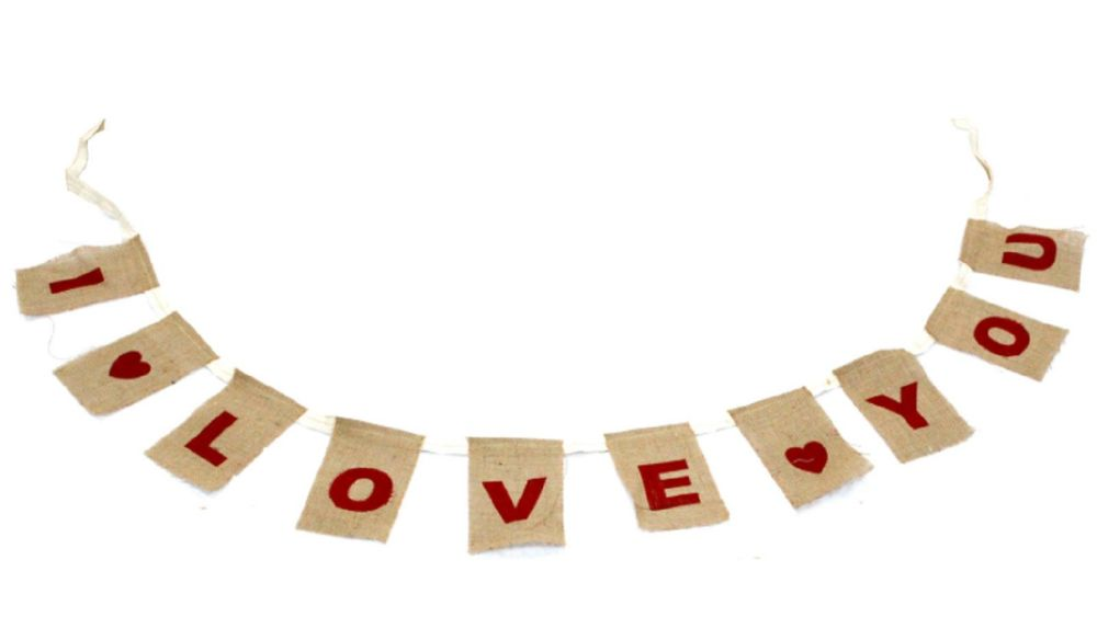 Jute Fabric Natural Bunting - I Love you - Valentines Decoration